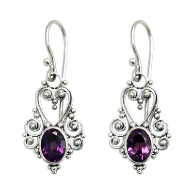Amethyst dangle earrings, 'Queen of Hearts' - Sterling Silver and Amethyst Dangle Earrings