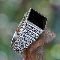 Men's onyx ring, 'Midnight Shadow' - Unique Men's Sterling Silver and Onyx Ring from Indonesia