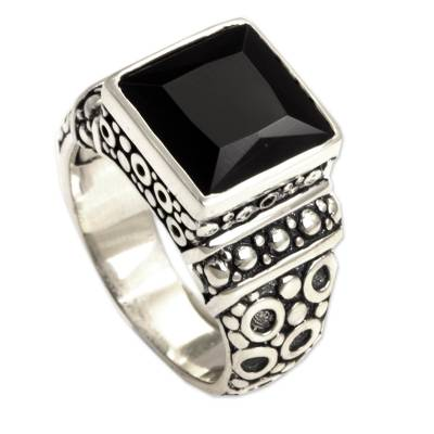 Men's onyx ring, 'Midnight Shadow' - Men's Sterling Silver and Onyx Ring