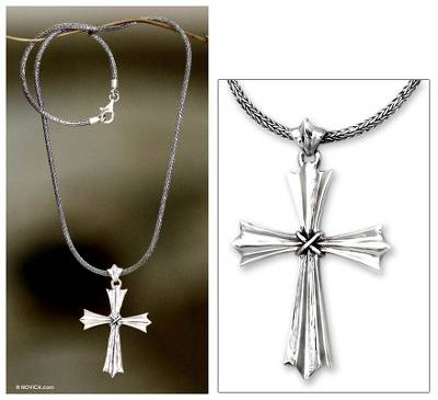 Sterling silver cross necklace, 'Sacrosanct' - Indonesian Sterling Silver Cross Necklace