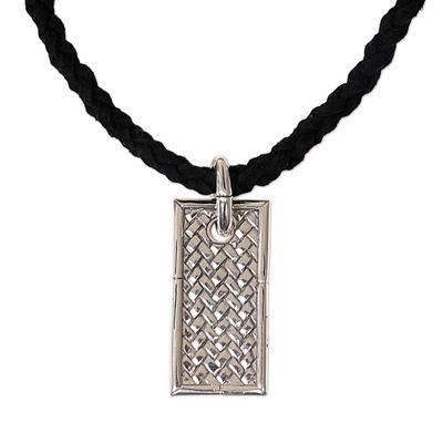 Men's leather pendant necklace, 'Patience' - Men's Sterling Silver Pendant Necklace