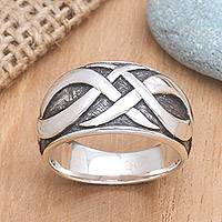 Men's sterling silver ring, 'Dragon Art'