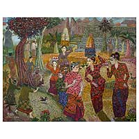 'Bringing Banten Offerings' (2010) - Spiritual Painting from Indonesia
