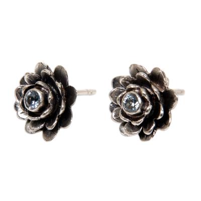Blue topaz flower earrings, 'Blue-Eyed Lotus' - Sterling Silver and Blue Topaz Button Earrings