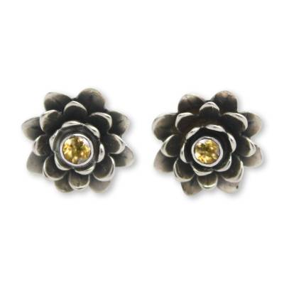 Floral Citrine Sterling Silver Button Earrings