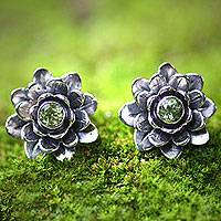 Peridot flower earrings, 'Green-Eyed Lotus'