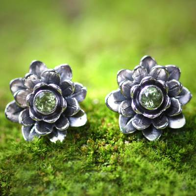 Peridot flower earrings, 'Green-Eyed Lotus' - Unique Floral Peridot Sterling Silver Button Earrings