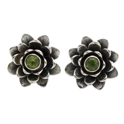 Unique Floral Peridot Sterling Silver Button Earrings