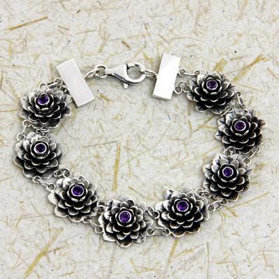 Amethyst link bracelet, 'Sacred Lilac Lotus' - Silver and Amethyst Lotus Bracelet Artisan Crafted Jewelry