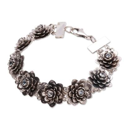 Hand Crafted Floral Sterling Silver and Blue Topaz Bracelet