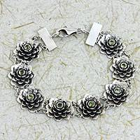 Peridot flower bracelet, 'Sacred Green Lotus' - Silver and Peridot Lotus Bracelet Hand Made Jewelry