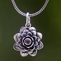 Amethyst flower necklace, 'Sacred Lilac Lotus' - Indonesian Inspired Floral Pendant Necklace with Amethyst