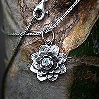 Blue topaz flower necklace, 'Sacred Blue Lotus' - Blue Topaz and Sterling Silver Pendant Necklace