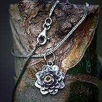 Citrine flower necklace, 'Sacred Golden Lotus' - Citrine and Silver Flower Necklace