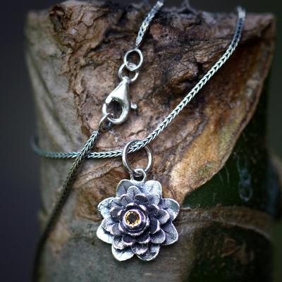 Citrine flower necklace, 'Sacred Golden Lotus' - Citrine and Silver Flower Necklace