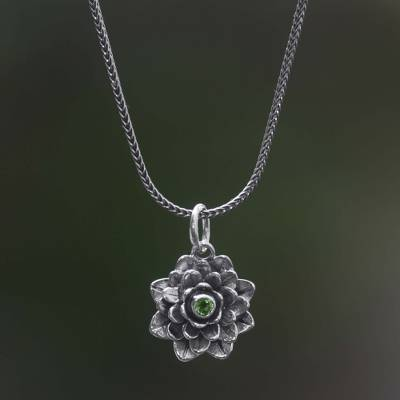 Peridot flower necklace, 'Sacred Green Lotus' - Floral Sterling Silver and Peridot Pendant Necklace