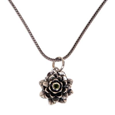 Floral Sterling Silver and Peridot Pendant Necklace