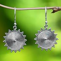Sterling silver dangle earrings, 'Purnama Sun' - Sterling Silver Dangle Earrings from Indonesia