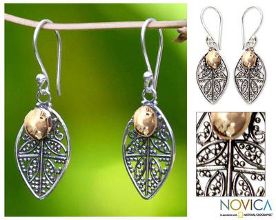 Sterling silver filigree earrings, 'Golden Dew' - 18k Gold Accent Sterling Silver Dangle Earrings