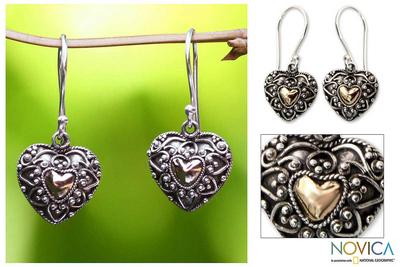 Sterling silver heart earrings, 'Sweetheart' - Gold Accent Heart Shaped Dangle Earrings
