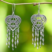 Sterling silver heart earrings, 'Strings of My Heart' - Sterling Silver Heart Shaped Chandelier Earrings