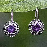 Amethyst drop earrings, 'Radiant Sunbeams'