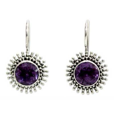 Amethyst drop earrings, 'Radiant Sunbeams' - Amethyst Sterling Silver Drop Earrings