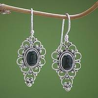 Onyx dangle earrings, 'Precious Night' - Floral Onyx Sterling Silver Dangle Earrings