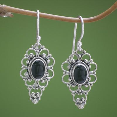 Onyx dangle earrings, 'Precious Night' - Floral Onyx Sterling Silver Dangle Earrings
