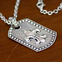 Men's sterling silver pendant necklace, 'Fleur de Lis' - Men's Sterling Silver Pendant Necklace