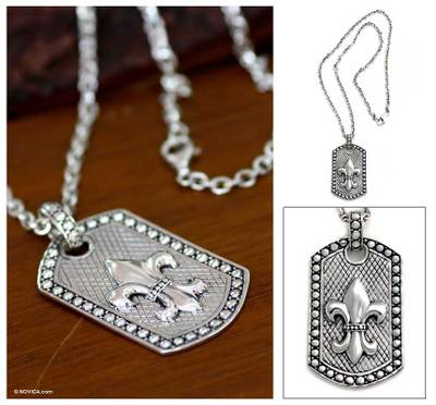 Men's sterling silver pendant necklace, 'Fleur de Lis' - Men's Sterling Silver Pendant Necklace