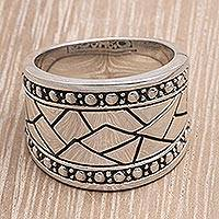 Men's sterling silver ring, 'Emperor' - Men's Sterling Silver Band Ring