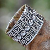 Men's sterling silver ring, 'Warrior' - Men's Handcrafted Sterling Silver Band Ring