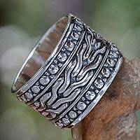 Men's sterling silver ring, 'Water'