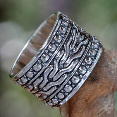 Men's sterling silver ring, 'Water' - Men's Handcrafted Sterling Silver Band Ring