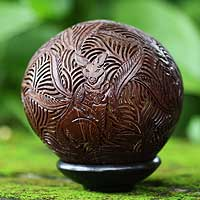 Coconut shell sculpture, 'Kangaroo Motherhood' - Hand Carved Coconut Shell Sculpture