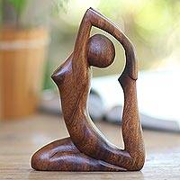 Wood sculpture, 'Gymnastics' - Hand Carved Original Wood Sculpture