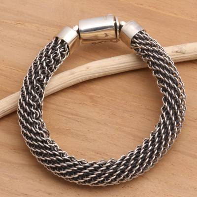 Sterling silver braided bracelet, 'Eternity' - Sterling Silver Chain Bracelet