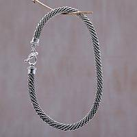 Sterling silver chain necklace, 'Eternity'