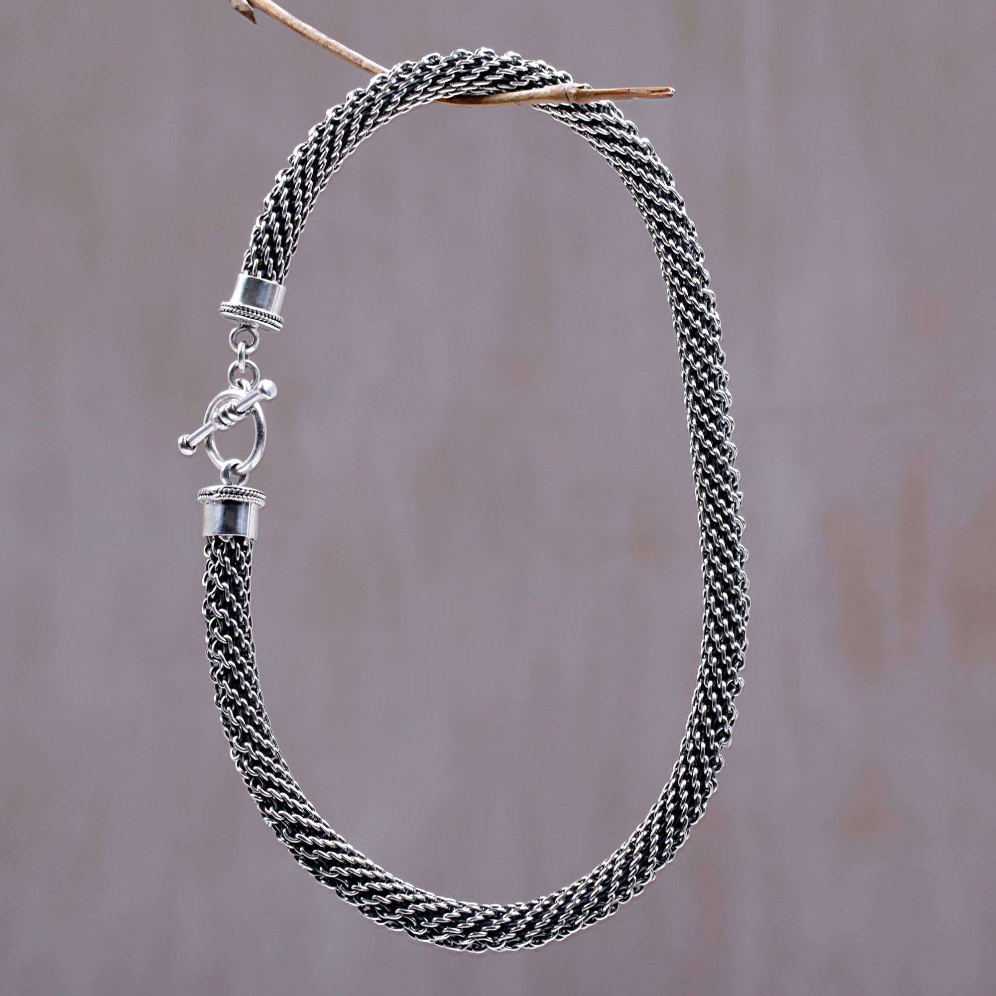 Sterling silver handmade chain necklace, 'Eternity' The Perfect Necklace