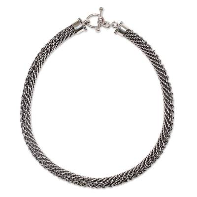 Sterling silver chain necklace, 'Eternity' - Sterling Silver Handmade Chain Necklace