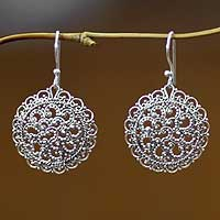 Sterling silver filigree earrings, 'Chrysanthemum'