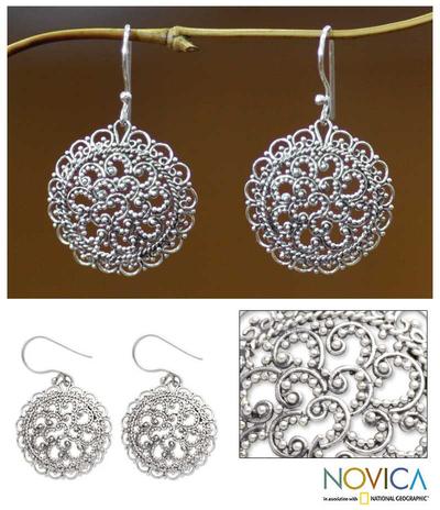 Sterling silver filigree earrings, 'Chrysanthemum' - Sterling Silver Earrings from Indonesia