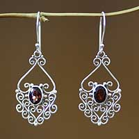 Garnet filigree earrings, 'Bali Dynasty'