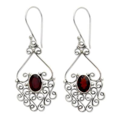 Garnet filigree earrings, 'Bali Dynasty' - Sterling Silver and Garnet Dangle Earrings
