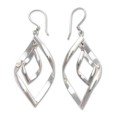 Sterling silver dangle earrings, 'Infinite Dance' - Modern Sterling Silver Dangle Earrings