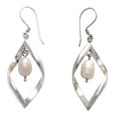 Pearl dangle earrings, 'Infinite White' - Pearl dangle earrings