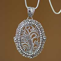 Sterling silver filigree necklace, 'Sanctuary'