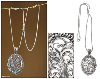 Sterling silver filigree necklace, 'Sanctuary' - Sterling Silver Filigree Necklace