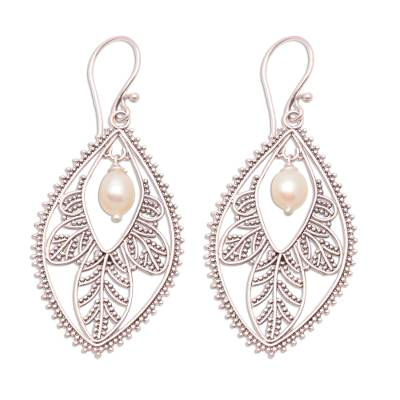 Pearl filigree earrings, 'White Dogwood' - Pearl filigree earrings